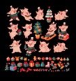 big set of pigs and christmas toys vector image vector image