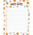 blank for notes with colorful fruits vector image