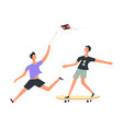 boy flies kite while friend rides skateboard set vector image