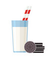 breakfast glass milk and oreo vector image