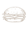 burger hand drawn sketch vector image