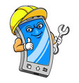 cartoon character an smartphone holding tool vector image