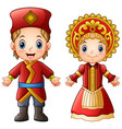 cartoon russian couple wearing traditional costume vector image vector image