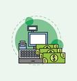 cash register banknote money dollar vector image