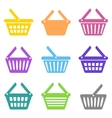 Colorful shopping basket icons vector image vector image