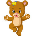 cute baby bear dancing cartoon vector image vector image