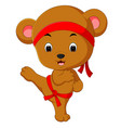 cute bear practicing karate vector image vector image