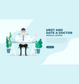 doctor sat at desk flat style vector image vector image