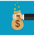 Flat background with hand and money bag vector image vector image