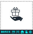 Gift present icon flat vector image vector image