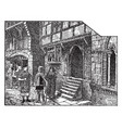 gothic street corner a reconstructed street vector image vector image