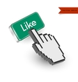 Green button with Like text and hand cursor vector image