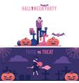 halloween horizontal greeting banners set vector image