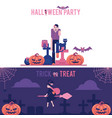 halloween horizontal greeting banners set with vector image vector image