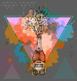 hand drawing of champagne bottle with splash vector image vector image