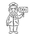 happy taxi driver coloring page vector image