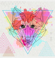 hipster polygonal animal fox on artistic vector image vector image