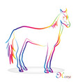 horse with colorful outline vector image vector image