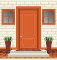 house door front with doorstep and steps lamp vector image vector image