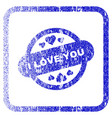 i love you stamp seal framed textured icon vector image vector image