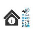 Info Building Flat Icon With Bonus vector image vector image