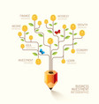 Infographic business pencil tree and coins flat li vector image vector image