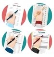 Left-hander writing signing document vector image vector image