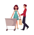 Man pushing a cart and woman holding shopping bags vector image