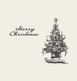 merry christmas card drawn tree sketch vector image