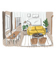 modern living room interior furnished drawing vector image vector image