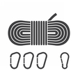 Mountaineering Rope and Carabiners Icons vector image