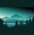 mountains and lake at night landscape flat vector image vector image