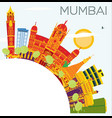 mumbai india skyline with color buildings blue vector image vector image