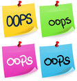 Oops Sticky Note vector image vector image