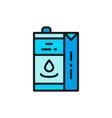 paper box for milk juice pack flat color line vector image