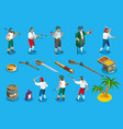 pirates isometric icons vector image vector image
