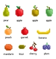 pixel fruit collection vector image vector image