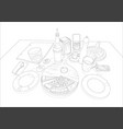pizza on a served table linear drawing vector image