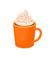pumpkin spice whipped latte traditional vector image