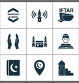 religion icons set with mimbar religion mecca vector image vector image