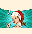 santa woman pointing finger vector image vector image