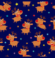 seamless pattern with cartoon reindeers vector image vector image