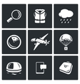 Search operation plane crash icons set vector image vector image