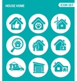 set of round icons white House home selling home vector image vector image