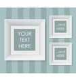 Set of white frames over striped background vector image
