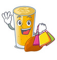 shopping lassi mango in a cartoon bottle vector image vector image