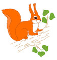 Squirrel On The Branch vector image vector image