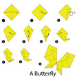 step instructions how to make origami a butterfly vector image