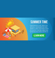 summer time concept banner isometric style vector image
