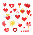 various pixel heart icons isolated on white vector image vector image